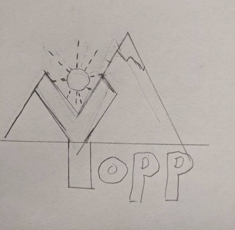 A pencil sketch on paper of the word Yopp with the letter Y perfectly lining up with two mountains behind it and a sun above the Y.