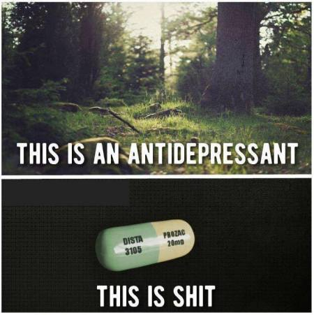 "Two images split by a white border: The top is the picture of a forest, and the words say, ""This is an anti-depressant."" The bottom is a white and green Prozac pill on a black background, and the words say, ""This is shit."""