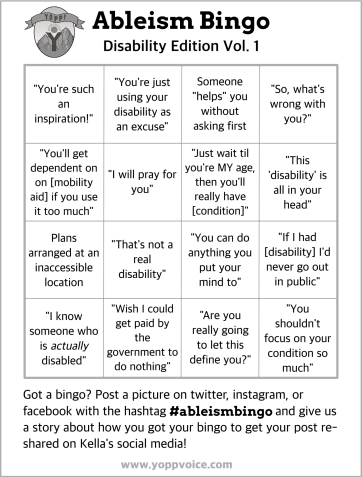 A black and white bingo card with a series of common ableist expressions in the boxes.