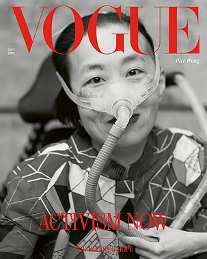 """Front cover of Vogue Magazine: Black and white photo of an Asian American woman in a power chair. She is wearing a vibrantly patterned blouse, a mask over her nose attached to a gray tube and a dark lip color. The Magazine says """"Activism Now: The Facts of Hope"""" in red letters."""