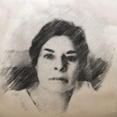 A photo of Jamie Dedes, a middle aged white woman with very short dark hair, prominent eyebrows, dark eyes, and a piercing expression. The photo has had a filter applied to it so that it looks like a charcoal drawing.