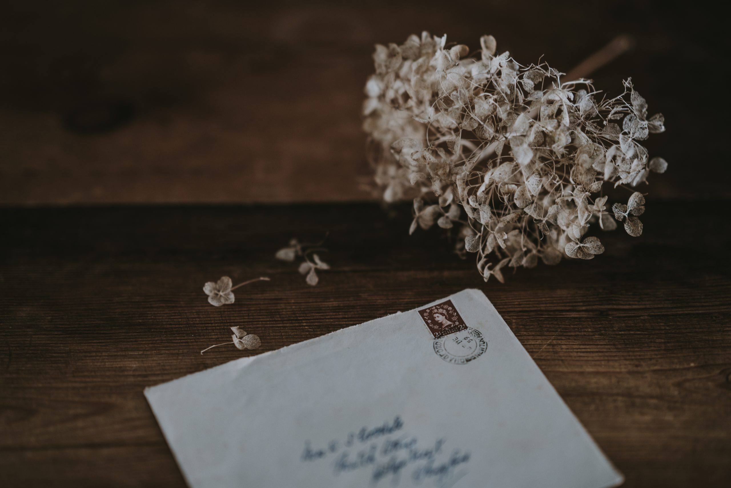 An envelope with a scrawled address and stamp sits on an aged wooden table, next to a collection of white dried flowers that are shedding petals across the table.
