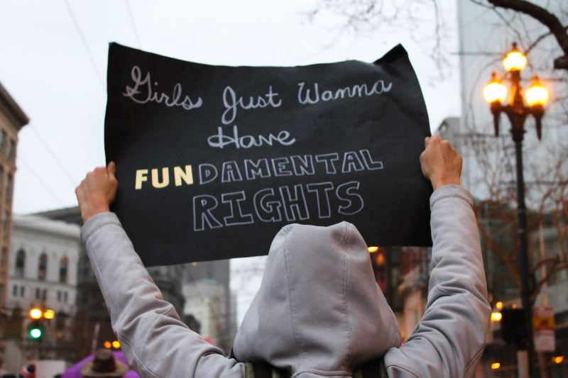 """A person wearing a grey hoodie holds a black protest sign above their head. The words are in white chalk and they say """"Girls Just Wanna Have FUNdamental Rights."""""""