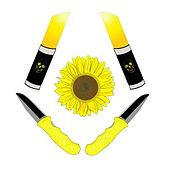 An avatar with two knives with yellow handles on the bottom left and right, two yellow sticks of lipstick engraved with skulls on the top bottom and right, the four objects forming a diamond shape around a yellow sunflower.