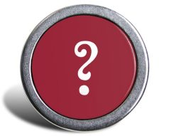 An avatar of a grey metallic ring surrounding a dark red button-like circular center, and a large white question mark in the middle.