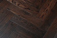 dark brushed oak herringbone parquet , T&G solid dark