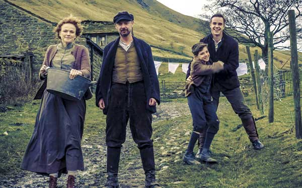 Residents of The Village: Grace (Maxine Peake), John (John Simm), Young Bert (Bill Jones), Joe (Nico Mirallegro). Photograph: BBC