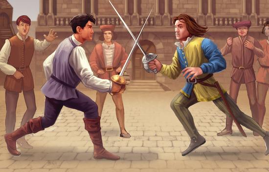 Tybalt Kills Mercutio Cartoon