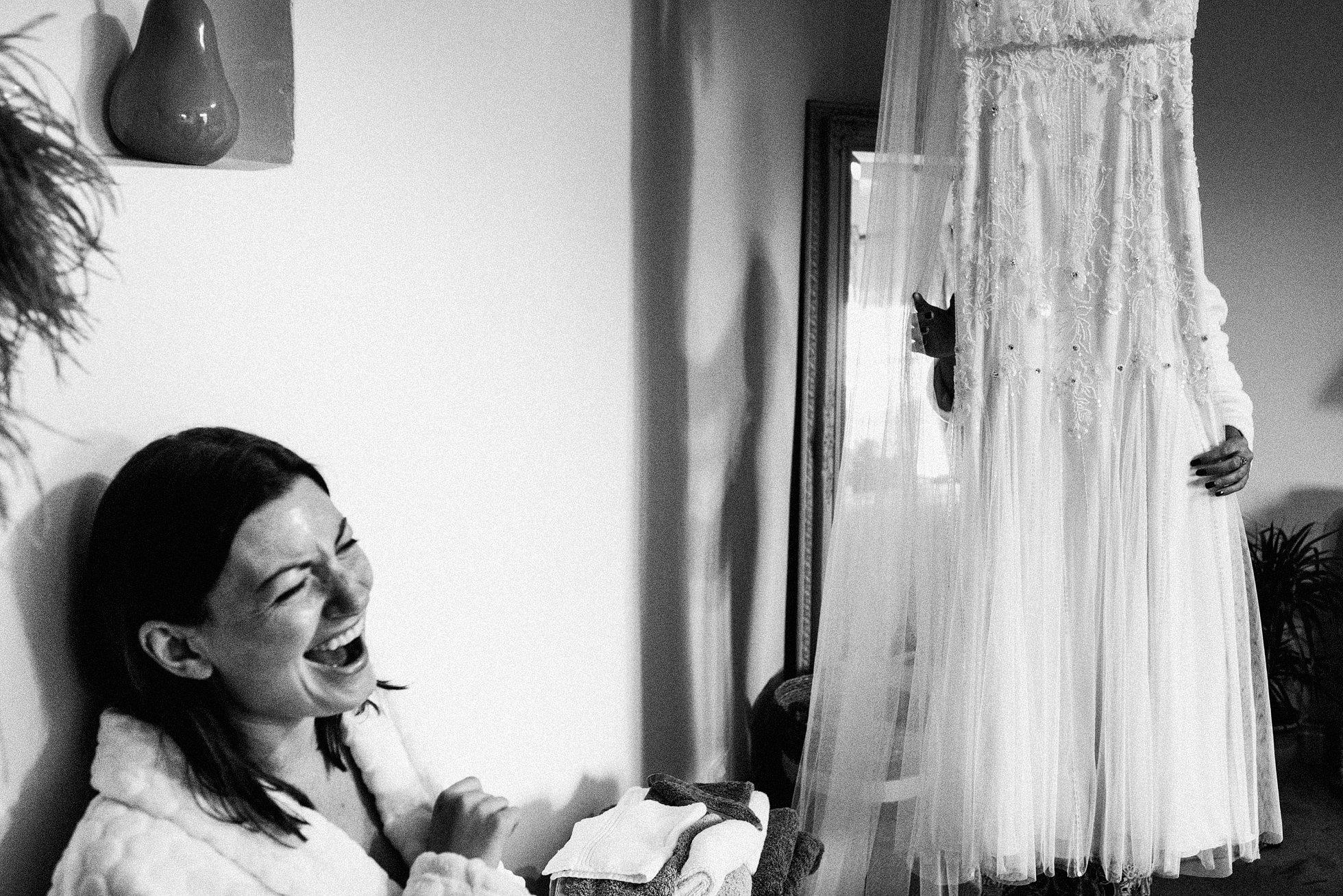 wedding bridal preparations at The Normans York - bride and wedding dress
