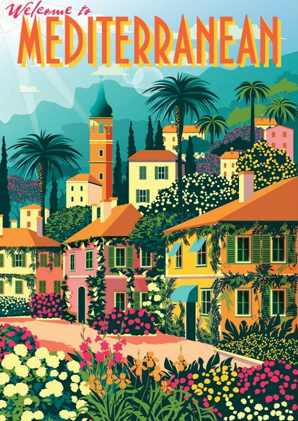 mediterranean vintage travel poster