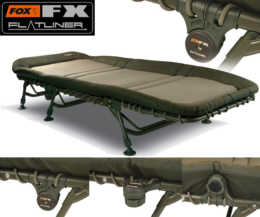 fold up camping chairs led table and fox flatliner bedchair - yorkshire carp