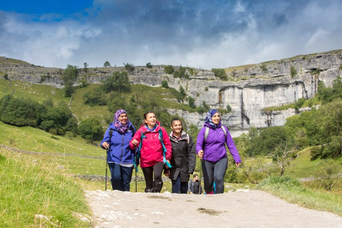A group on the return leg of their walk to Malham Cove