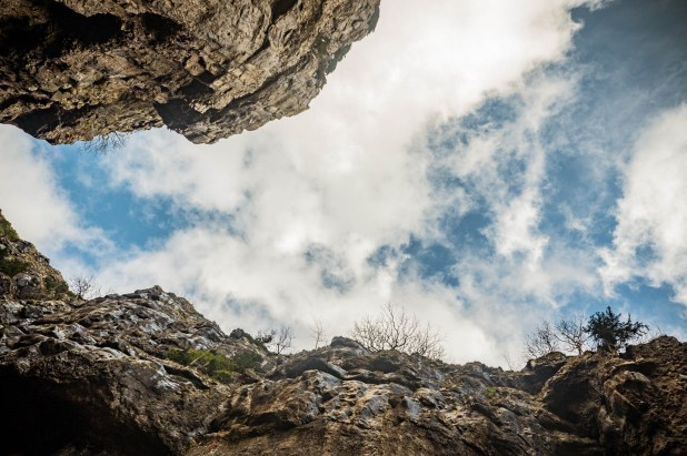 Looking up through Gordale Scar