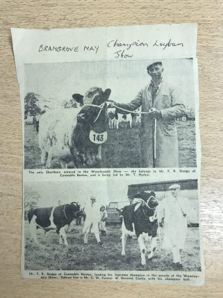 Newspaper clipping lent by a retired dairy farmer