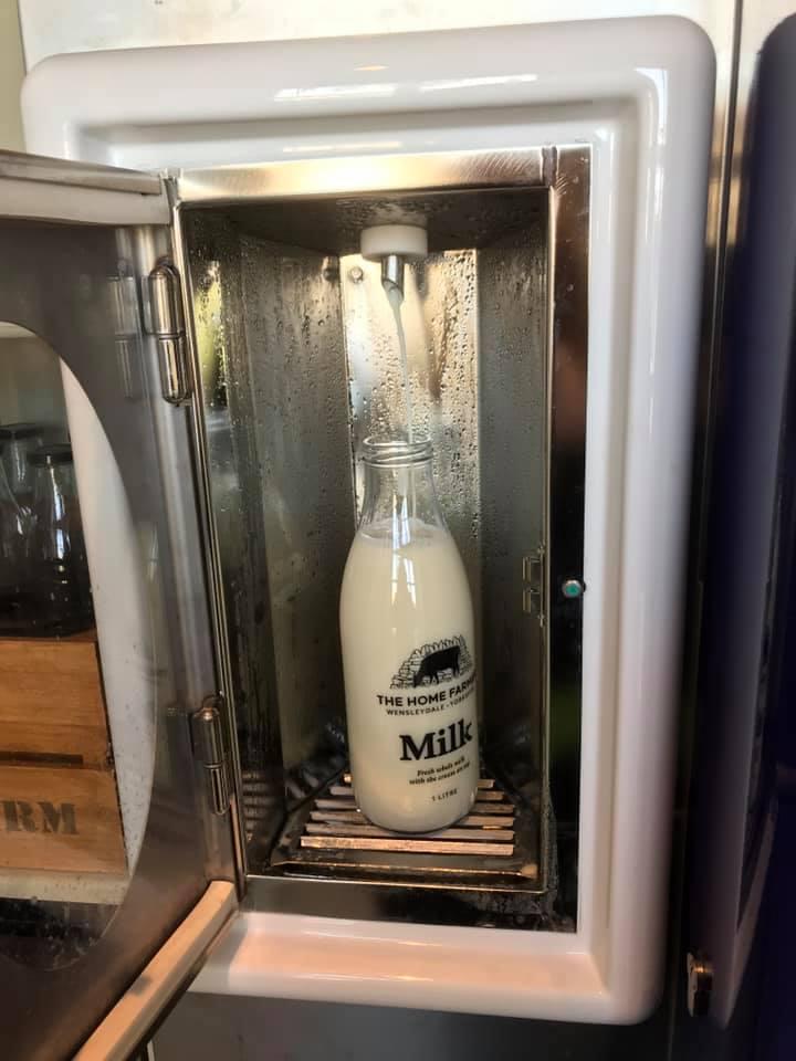 Filling the glass milk bottle