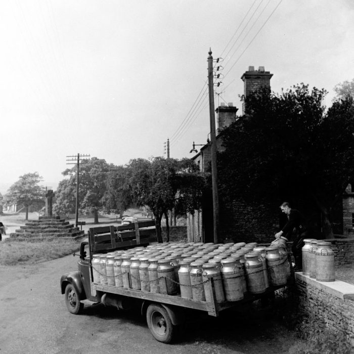 Collecting milk churns in Carperby, 1950s. Photograph by Bertrand Unne, courtesy of North Yorkshire County Council Archives
