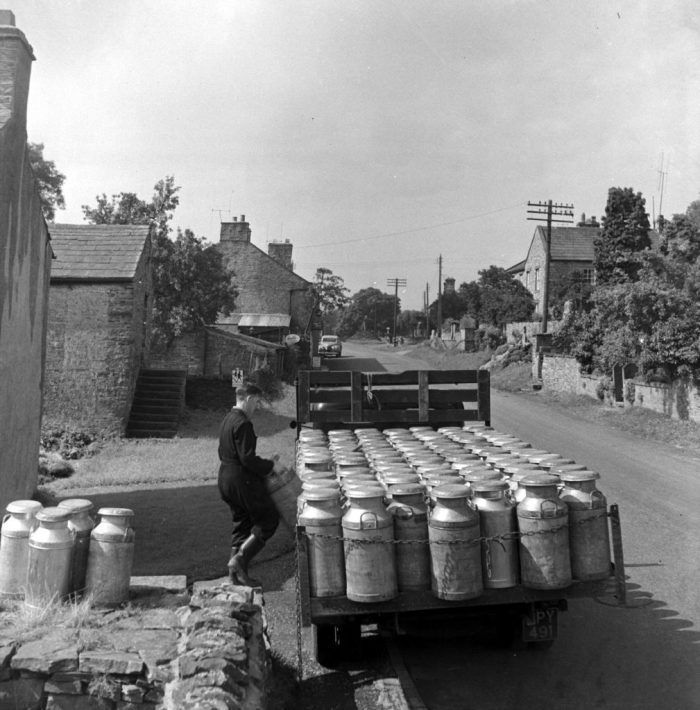 Collecting milk churns in Carperby, 1950s. Photo by Bertrand Unne with permission of North Yorkshire County Council Archives