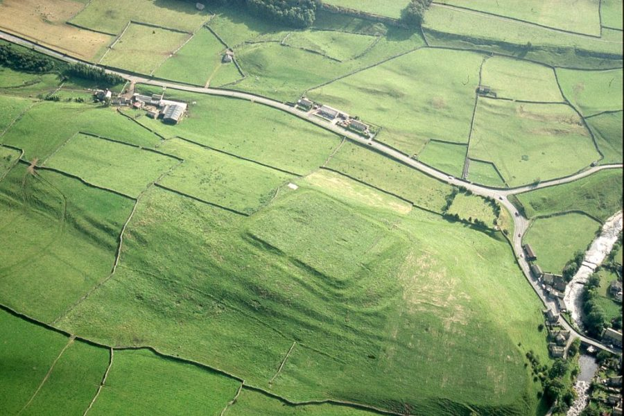 Aerial photo of the remains of Bainbridge Roman fort. © YDNPA Robert White