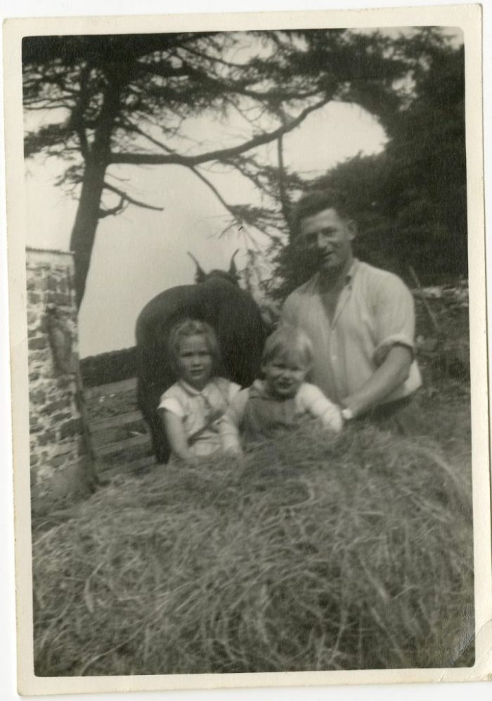 Haytime with younger brother, dad and Daisy the carthorse. Courtesy of Sally Stone