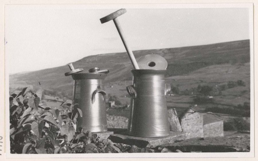 Salt-glazed ceramic plunge churns photographed by Werner Kissling in the Yorkshire Dales. Reproduced with the permission of Special Collections, Leeds University Library