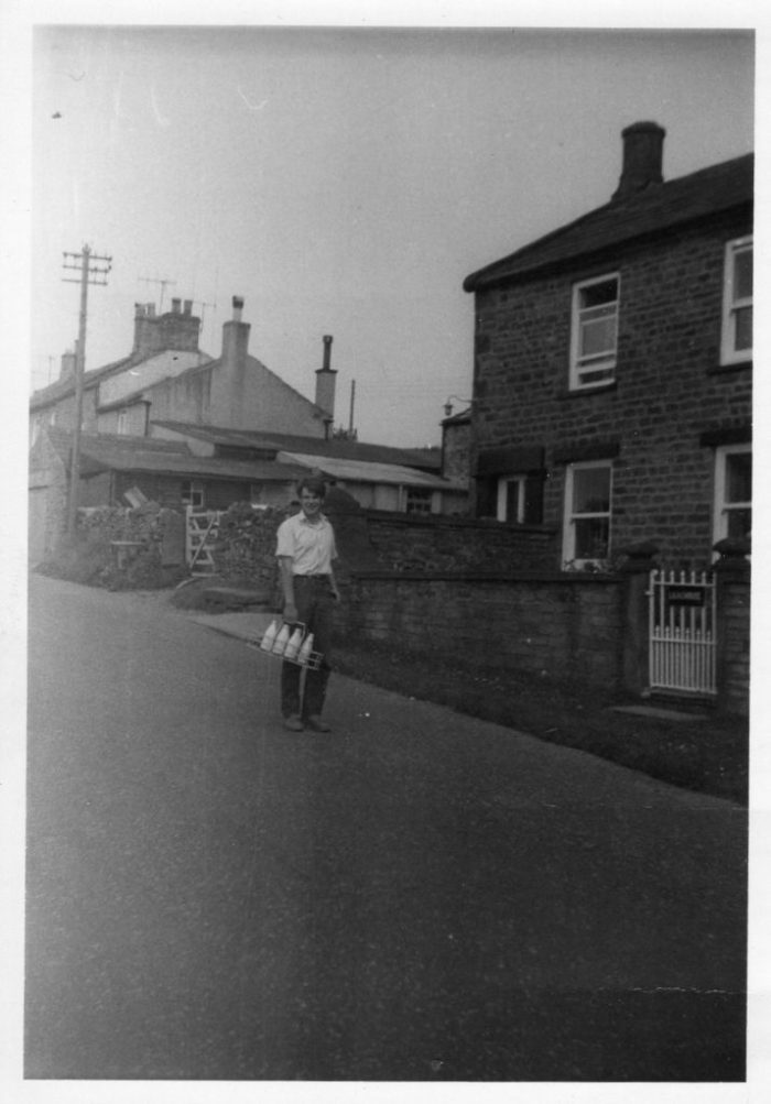 Michael Horner delivering milk in Coverdale. Unknown date. Collection of Michael Horner