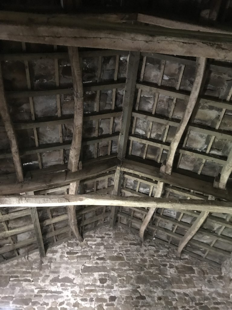 Little Barn roof interior showing early timbers