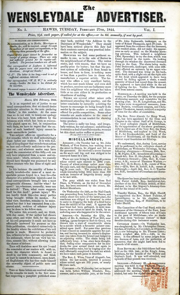 The Wensleydale Advertiser 27th February 1844 no 5 vol 1