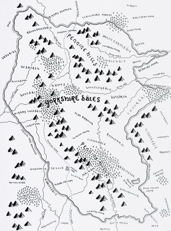 Hand drawn map of the Dales - Tolkien style