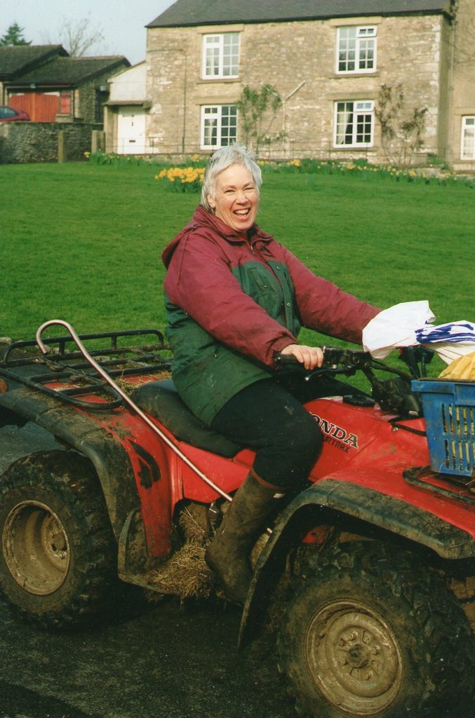 Sally Stone on her early morning lambing rounds before school. Possibly taken by the school caretaker. Courtesy of Sally Stone