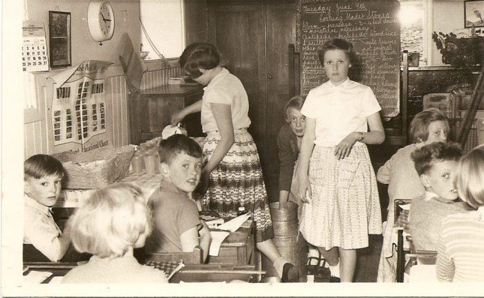 Serving milk at Bainbridge School, 1958. Courtesy of Eleanor Scarr