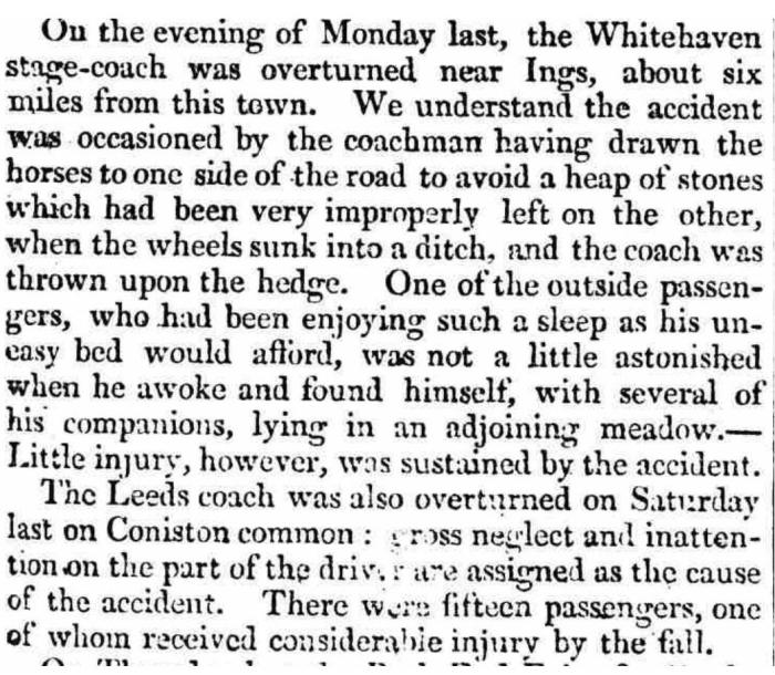 Coach accident reported in The Westmorland Gazette - Saturday 31 October 1818