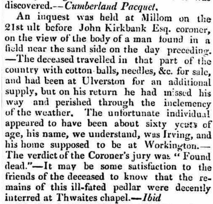 Article from the Cumberland Pacquet republished in The Westmorland Gazette - Saturday 15 January 1831. Newspaper image © The British Library Board. All rights reserved. With thanks to The British Newspaper Archive (https://www.britishnewspaperarchive.co.uk/).