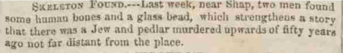 The Westmorland Gazette - Saturday 25 March 1843.  Newspaper image © The British Library Board. All rights reserved. With thanks to The British Newspaper Archive (https://www.britishnewspaperarchive.co.uk/).