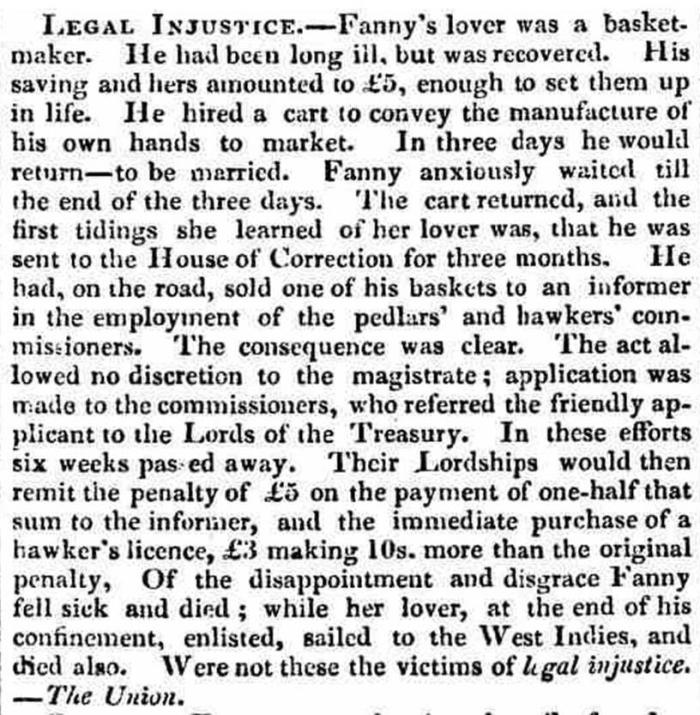 The Westmorland Gazette - Saturday 08 October 1831.  Newspaper image © The British Library Board. All rights reserved. With thanks to The British Newspaper Archive (https://www.britishnewspaperarchive.co.uk/).