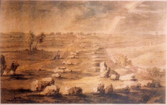 'The Shap Avenue' a sketch by Lady Lowther 1775, from the south. Unknown source.