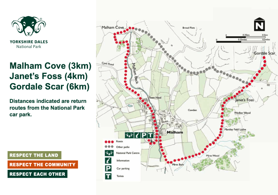 Map for walks in the Malham Cove, Janet's Foss and Gordale Scar.