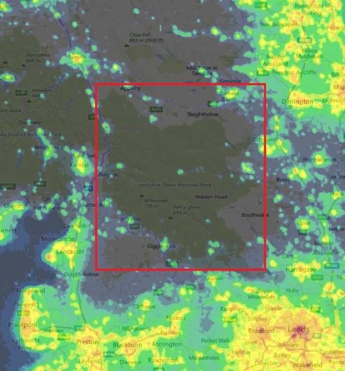 This light pollution map shows that the National Park, boxed in red, is largely dark at night