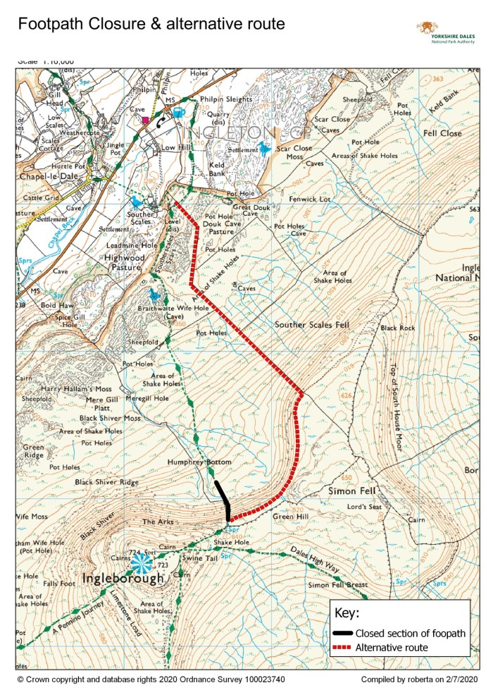 Alternative footpath for the Three Peaks walk. This is a map.