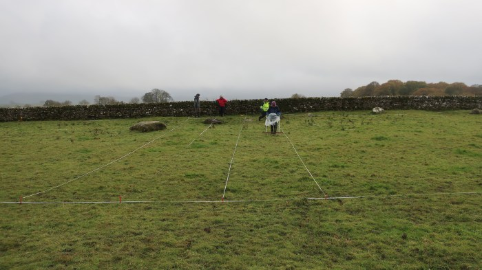 Image shows the geophysics being undertaken according to a reduced 20m grid over the monument