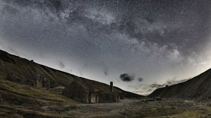 The Milky Way above Old Gang, an old mine in Swaledale in the Yorkshire Dales