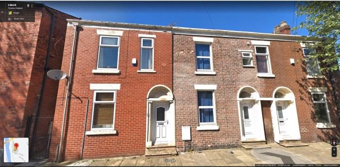 Bird Street, Preston. No 2 is on the left. From Google Street View