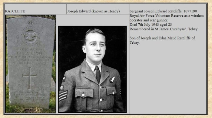 Memorial and photograph of Joseph Edward Ratcliffe, killed 7 July 1943. From OTLHS website with permission