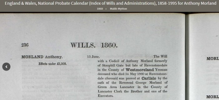 Record of Anthony Morland's will 1860. Screenshot from Ancestry.com