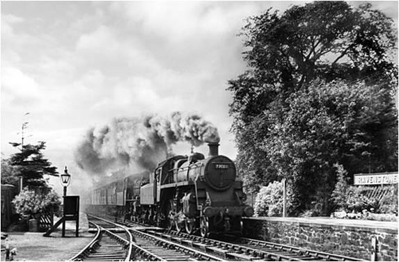 Steam engine approaching Ravenstonedale Station. Courtesy of Ravenstonedale Parish History Group