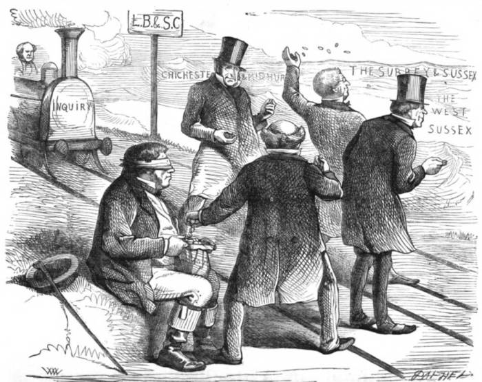 """""""A blindfolded John Bull, symbol of England, holds a sack of money from which the directors of railway boards take and hurl away coins as a locomotive marked """"Inquiry"""" arrives"""" — George P. Landow. Courtesy of the Hathi Digital Library Trust and the University of Minnesota library https://victorianweb.org/economics/railwaypanic.html"""