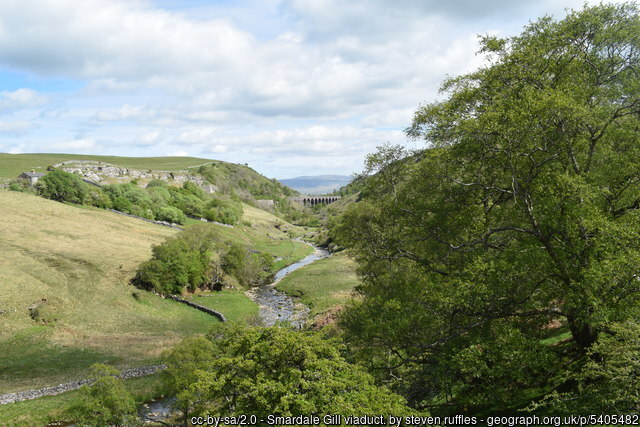 Distant view of Smardale Gill Viaduct.  cc-by-sa/2.0 - © steven ruffles - geograph.org.uk/p/5405482