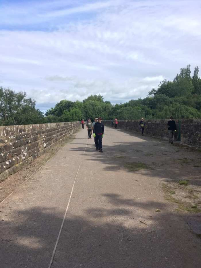 Young Rangers walk across the viaduct which is looking clean and tidy.