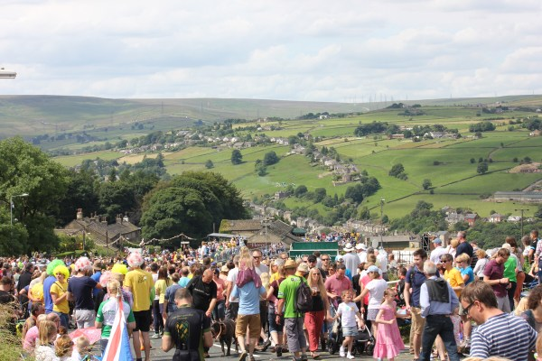 Stunning view over the Ryburn Valley scene of the tour de france