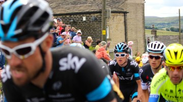 Sky Riders Eisel Bernhard and Geraint Thomas Ripponden Bank Calderdale Tour De France