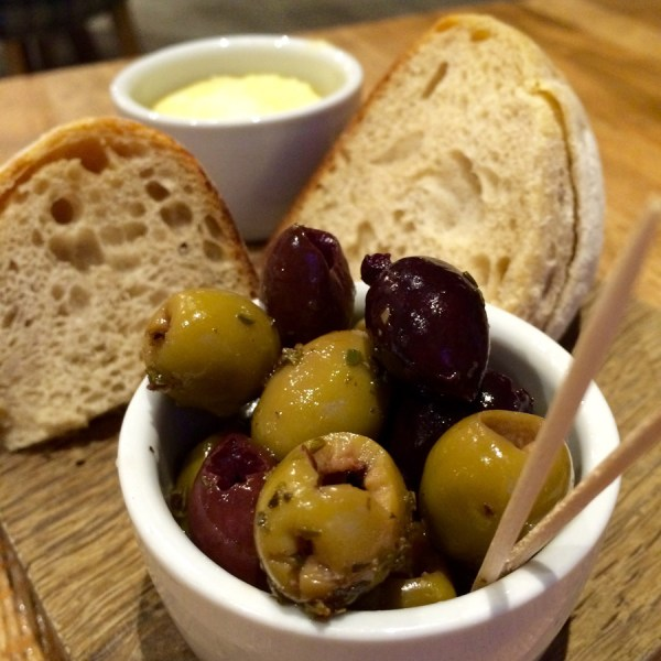 Bread and Olives at the Alice Hawthorn
